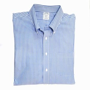Brooks Brothers blue gingham button down shirt